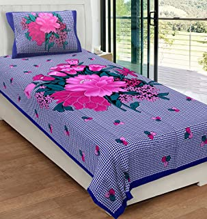 Urban Magic® 104 TC Cotton Single Floral Bedsheet (Pack of 1, Blue)