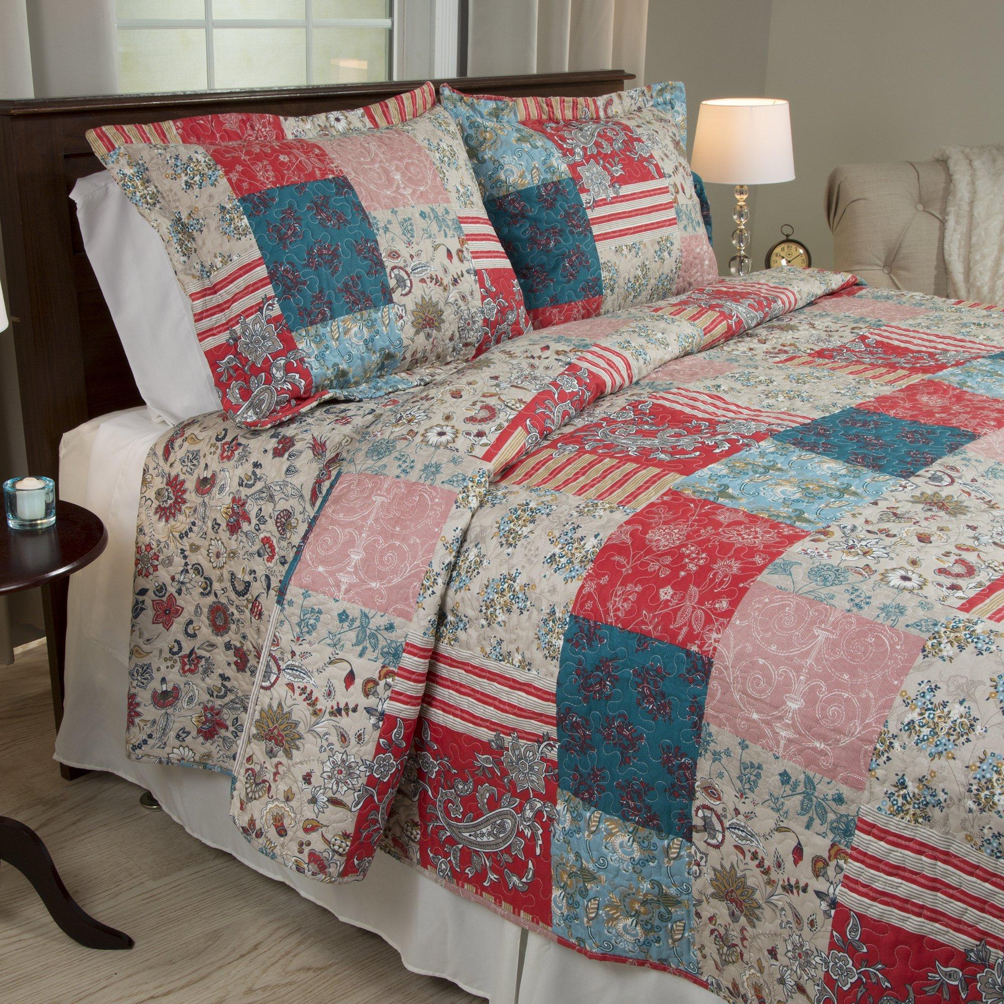 Amazon Com Lavish Home 66 10039 Fq 3 Piece Mallory Quilt Set Full Queen Home Kitchen