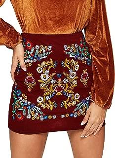 SheIn Mini Falda Corta para Mujer, Informal, Floral, Bordada, Bodycon