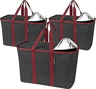 CleverMade - 7020-0000-15303PK SnapBasket Insulated Reusable Grocery Shopping Bags with Reinforced Bottom and Zippered Li...