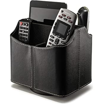 Remote Control Holder 360 Degree Spinning Desk Organizer for Remote Controllers, TV Guide, Mail, Electronics and Media Storage (Black)