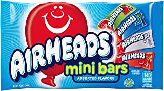 Airhead Individually Wrapped Assorted Fruit Mini Bars for Halloween, Non Melting, 12 Ounces