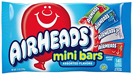AirHeads Candy Variety Bag, Individually Wrapped Assorted Fruit Mini Bars for Halloween, Bulk, Party