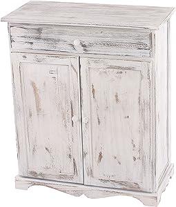 Mendler Serie vintage credenza cassettiera legno paulonia cassetto e sportelli 33x66x78cm bianco