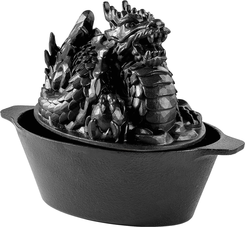 Duracast Ironworks Cast Iron Wood Stove Steamer -Dragon Design, XL 3QT Capacity, In Black