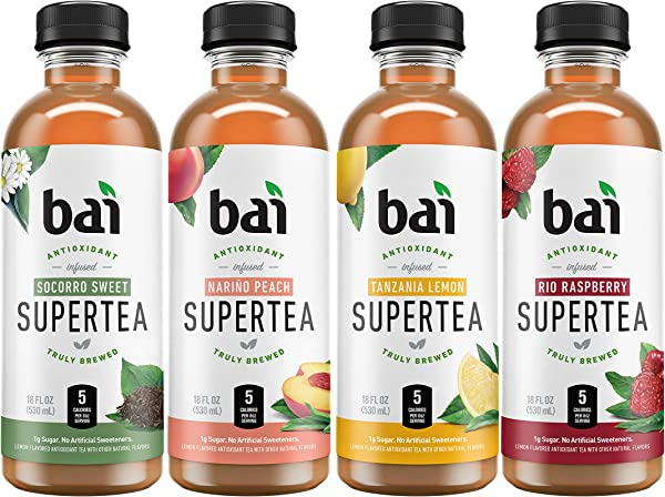Bai Iced Tea Supertea Variety Pack II Crafted With Black Tea And White Tea 18 Fluid Ounce Bottles 12 Count 3 Each Of Narino Peach Tea Rio Raspberry Tea Socorro Sweet Tea Tanzania Lemon Tea