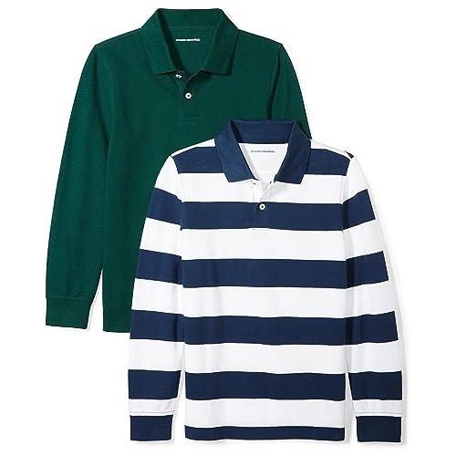 Amazon Essentials Boys  2-Pack Long-Sleeve Pique Polo Shirt ef831696ccf0d