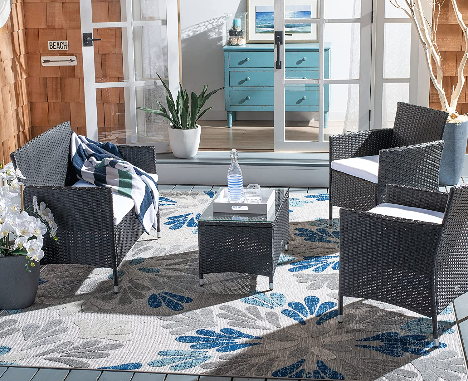 Safavieh PAT7506A Collection Bandele Black and Beige 4-Piece Outdoor Living Patio Set