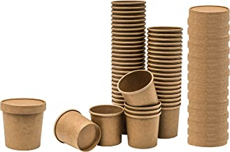 Paper Soup and Ice Cream Cups, with Ventilation lids, for Hot or Cold Food, Party Supplies Treat Cup (50 Count, Kraft) (12...