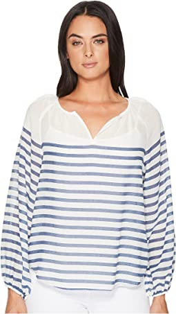 TWO by Vince Camuto - Long Sleeve Ladder Stripe Peasant Blouse