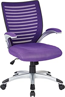 Office Star Breathable Mesh Back and Padded Mesh Seat Managers Chair with Fixed Arms and Silver Accents, Purple