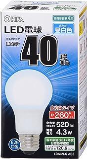 OHM LED電球 一般電球形 40形相当 口金直径26mm 昼白色 [品番]06-1734 LDA4N-G AG5