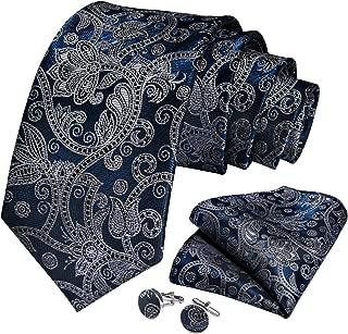 Blue Grey Floral Necktie and Pocket Square Cufflink Set Extra Long Tie for Men Business(63