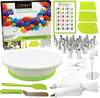 Happy Hour Bake 46pcs Beginner Cake Decorating Kit Baking Supplies with Rotating Cake Stand - Baking Kits for Adults or Kids- Cupcake Decorating Kit with Icing Bags and Tips- Cake Decorating Supplies