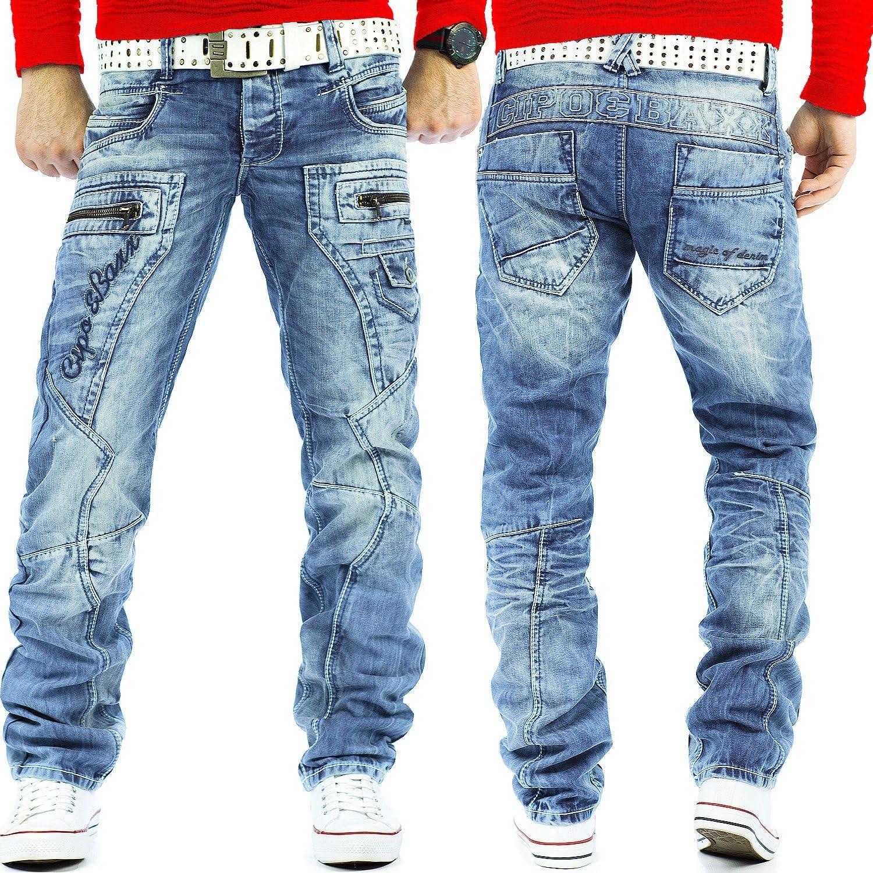 Cipo & Baxx Jean pour homme avec coutures épaisses - Coupe droite Bleu Clair (36)