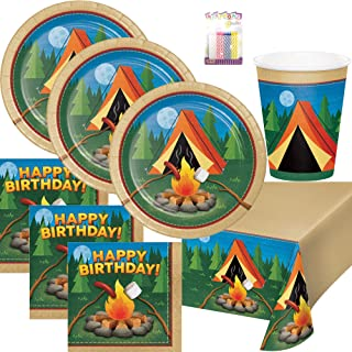 Lobyn Value Packs Camp Out Campfire Party Plates Napkins Cups and Table Cover Serves 16 with Birthday Candles -Camp Out Campfire Party Supplies Pack Deluxe (Bundle for 16)