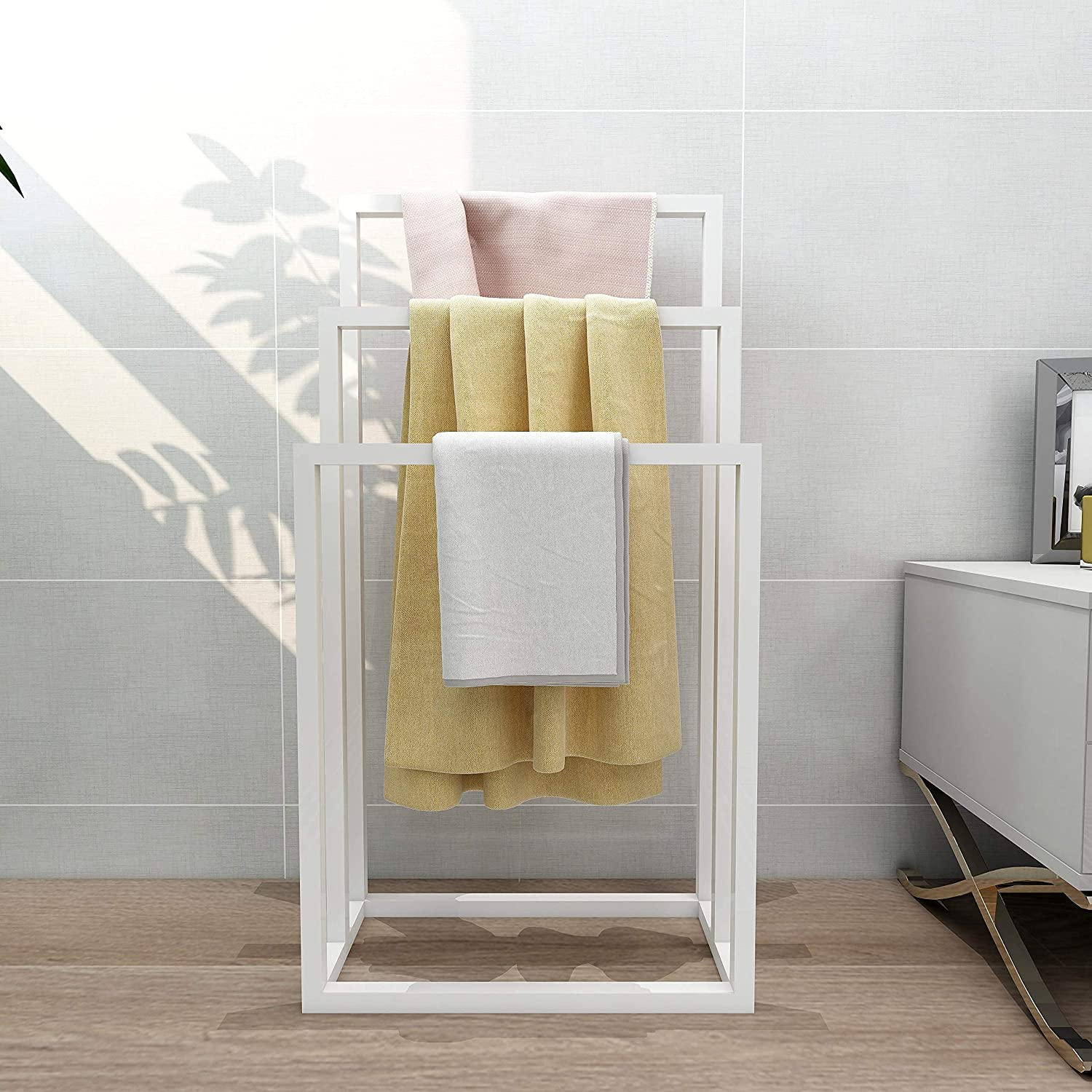Direct stock discount Metal Freestanding Towel Rack 3 Holder H Year-end annual account Blanket Tires Organizer