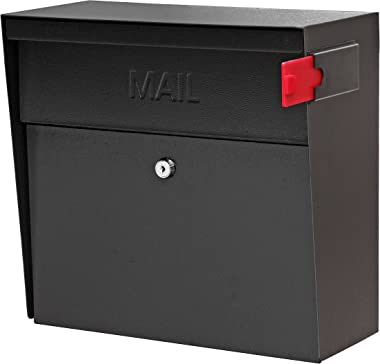Mail Boss 7162 Metro, Black High Capacity Wall Mounted Locking Security Mailbox,Medium
