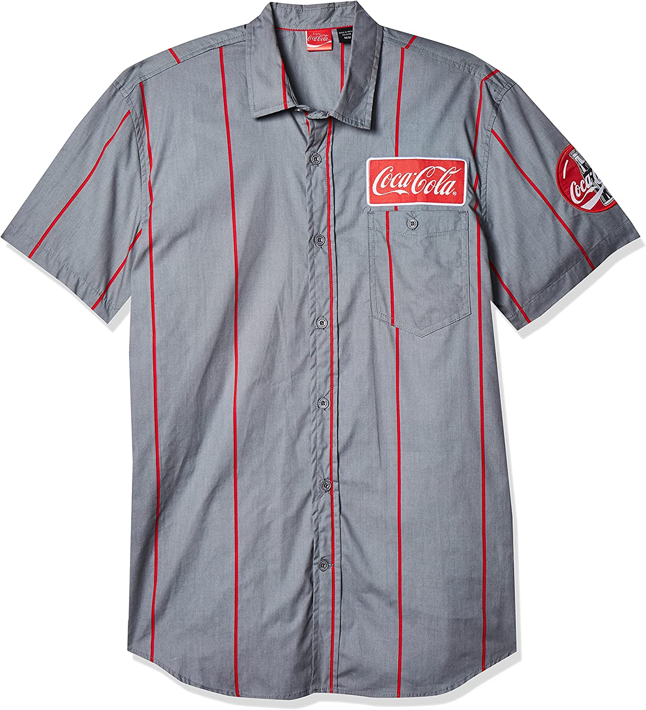 Men's Vintage Clothing | Retro Clothing for Men Coca-Cola Mens Striped Button Up Work Shirt with Logo Patch  AT vintagedancer.com
