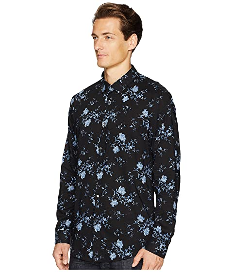 botón Collection Varvatos John deportiva con W416U2 Medianoche de Slim Fit vástago camisa 050dqSxw