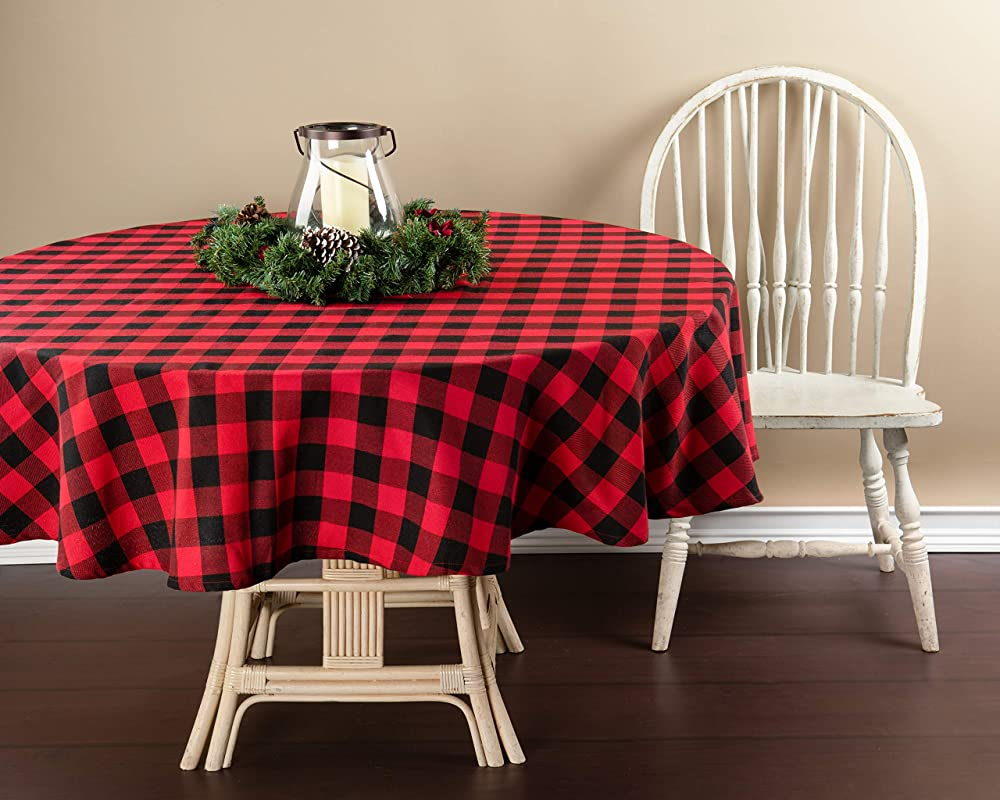 Wal Mart Buffalo Plaid Red Black Fabric Tablecloth 70 Inches Round