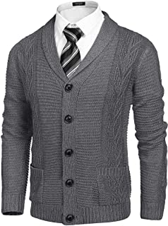 COOFANDY Men's Shawl Collar Cardigan Sweater Regular Fit Casual Cable Knitted Sweaters with Buttons and Pockets