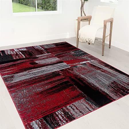 Handcraft Rugs Red Gray Silver Black Abstract Contemporary Modern Brush Design Mixed Colors Area Rug Kitchen Dining