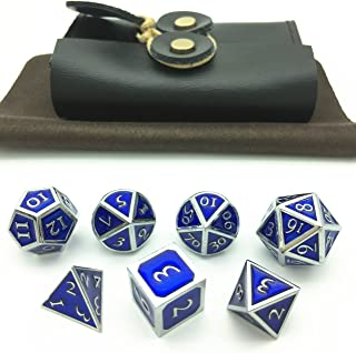 Momostar Metal Polyhedral Dice Set, Delicate Leatherette Box & Cleaning Cloth. Great For RPG, D&D. -Chrome Color & Sapphire Blue Background.