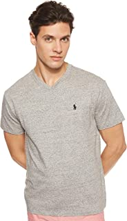 Polo Ralph Lauren Men's V-Neck Classic Fit Short Sleeve T-Shirt, Grey (Dark Vintage Heather), Large