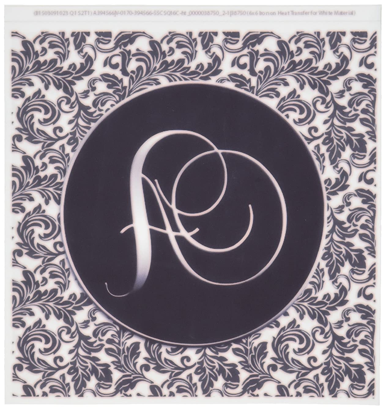 3dRose ht_38750_2 Letter a Black and White Damask Iron on Heat Transfer for White Material, 6 by 6-Inch