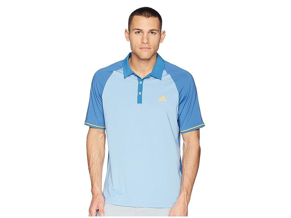 adidas Golf CLIMACOOL(r) Jacquard Raglan Polo (Ash Blue/Trace Royal) Men