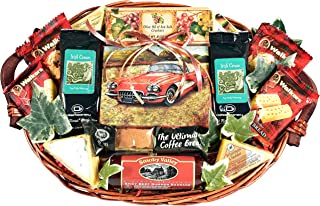 Gift Basket Village Plays With Cars, Coffee Themed Gift Basket For Men with Large Classic Car Coffee Mug, Gourmet Coffee, Biscotti, Meat and Cheese