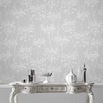 Superfresco Easy Paste the Wall Aura Sprig Motif Grey Wallpaper 33-304