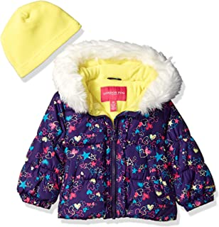 London Fog Baby Girls Winter Coat with Hat & Scarf