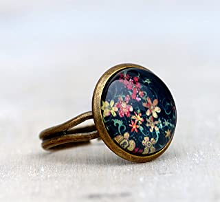 Edelstein-Ring mit Unakit Bronze Vintage Gr/ö/ßenverstellbar Rund Gr/ün Damenring Geschenkidee f/ür Frauen