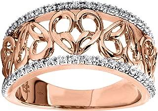 10K Rose Gold 1/6cttw Diamond Heart Ring