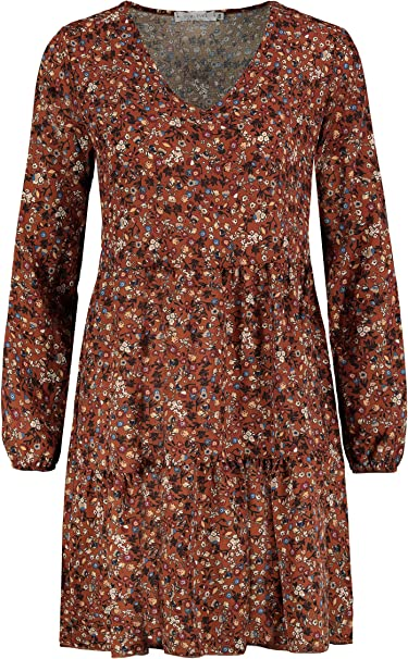 Sublevel Damen Kleid Mit Blumen Muster Langarm Herbst Fruhling Amazon De Bekleidung