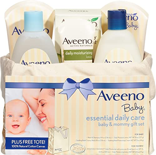 Aveeno Baby Essential Daily Care Baby & Mommy Gift Set featuring a Variety of Skin Care and Bath Products to Nourish ...