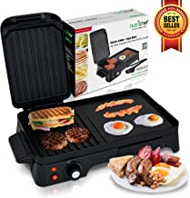 2-in-1 Panini Press Grill Gourmet Sandwich Maker & Griddle, Nonstick Coating, Temperature Control, Oil Tray, Countertop Removable Drip Tray 1500W - NutriChef