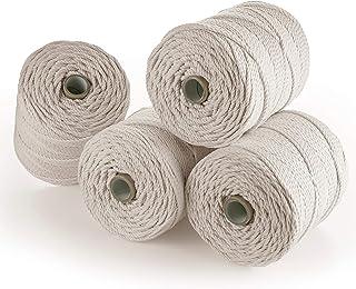 MB Cordas Corde macramé 4 mm 800 m - Cordon en Coton Naturel 3 Brins - Ficelle de Macramé, Crochet, Tricot - Sac à Main, P...