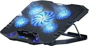 TopMate C5 Laptop Cooling Pad Gaming Notebook Cooler, Laptop Fan Cooling Stand Adjustable Height with 5 Quiet Fans Blue LED Light, Computer Chill Mat with LCD Controller, for 10-15.6 Inch Laptops