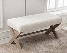 Fabric Upholstered Entryway Bench Seat, 36 inch Bedroom Bench Seat with X-Shaped Wood Legs for Living Room, Foyer or Hallway by Chairus - Light Beige