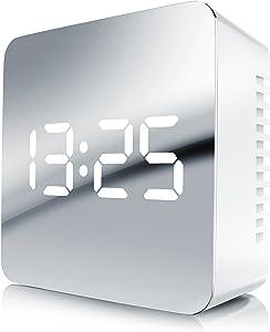 Bearware - Sveglia LED Digitale | Sveglia da Viaggio con visualizzazione della Temperatura/Sveglia | Sveglia a Specchio | Visualizzazione della Temperatura Interna | Funzione Snooze
