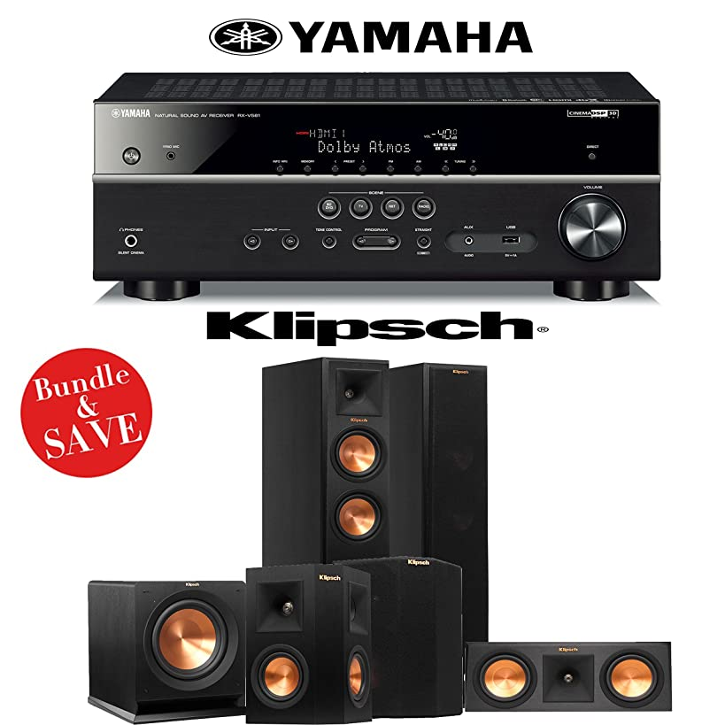 Klipsch RP-250F 5.1 Reference Premiere Home Theater System with Yamaha RX-V581BL 7.2-Channel A/V Receiver