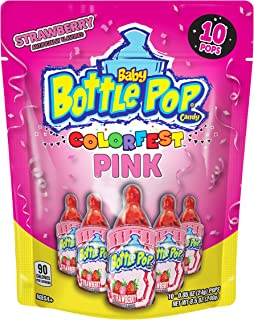 Baby Bottle Pop Individually Wrapped Pink Party Pack –10 Flavored Pink Candy Lollipop Suckers Pink Candy for Celebrations ...