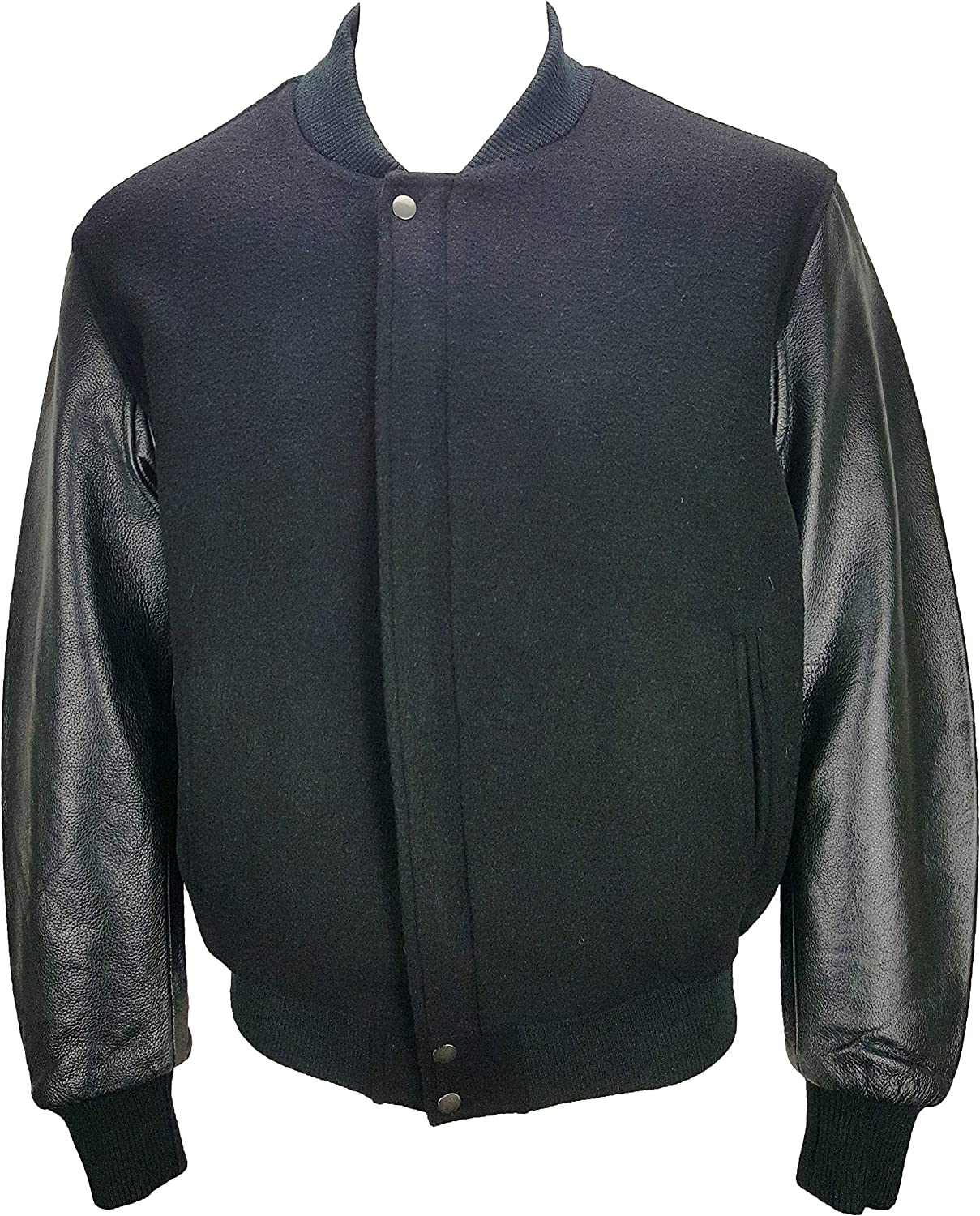 Unicorn Mens Classic Bomber Jacket - Wool and Real Leather - Black #JO