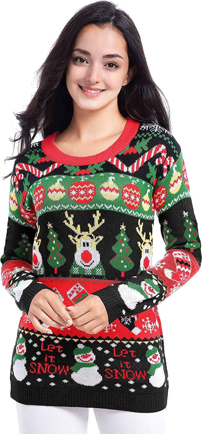 v28 Women Varied Ugly Christmas Sweater Merry Reindeer Shirt Knit Pullover