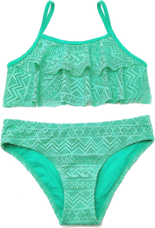 SHEKINI Girls Bathing Suit Ruffles Free Shipping New Two Printed Crochet P security Flounce