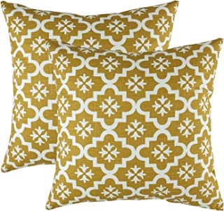 TreeWool Decorative Square Throw Pillowcases Set Moroccan Trellis Accent 100% Cotton Linen Cushion Cases Pillow Covers (18 x 18 Inches / 45 x 45 cm; Mustard in Cream Background) - Pack of 2