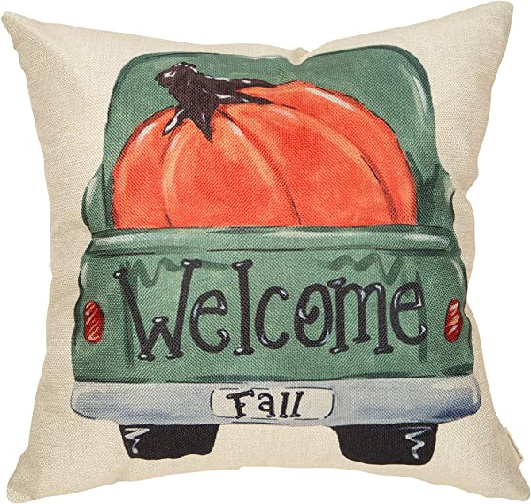 FahrendoWem Fall Farmhouse Rustic Home D Cor Thanksgiving Autumn Harvest Decorative Throw Pillow Cover Vintage Truck Sign Welcome Pumpkin Decoration Cotton Linen Cushion Case For Sofa Couch 18 X 18 In